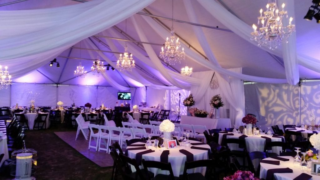 Uplighting, Gobo Projection, Draping, & Chandeliers in Tent