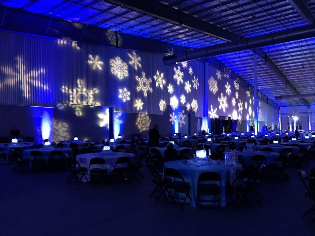 Blue Uplighting with Snowflake Gobo Lighting