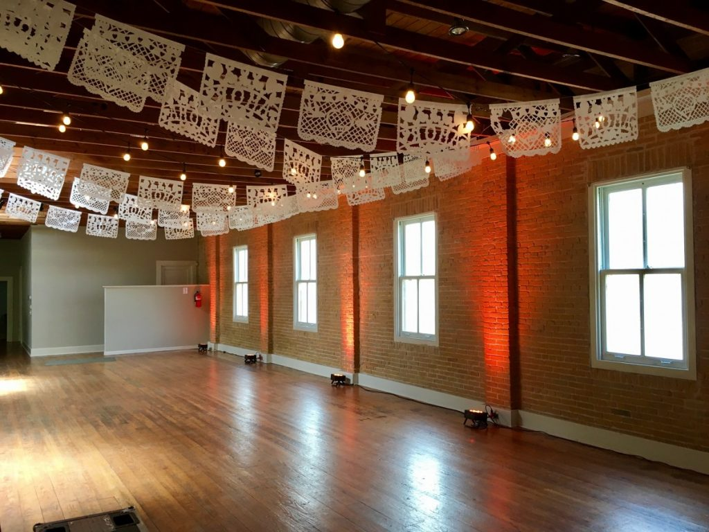 Uplighting with String Lighting and Papel Picado