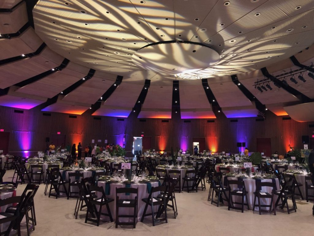 Multi-Colored Uplighting with Pattern Gobos on Ceiling