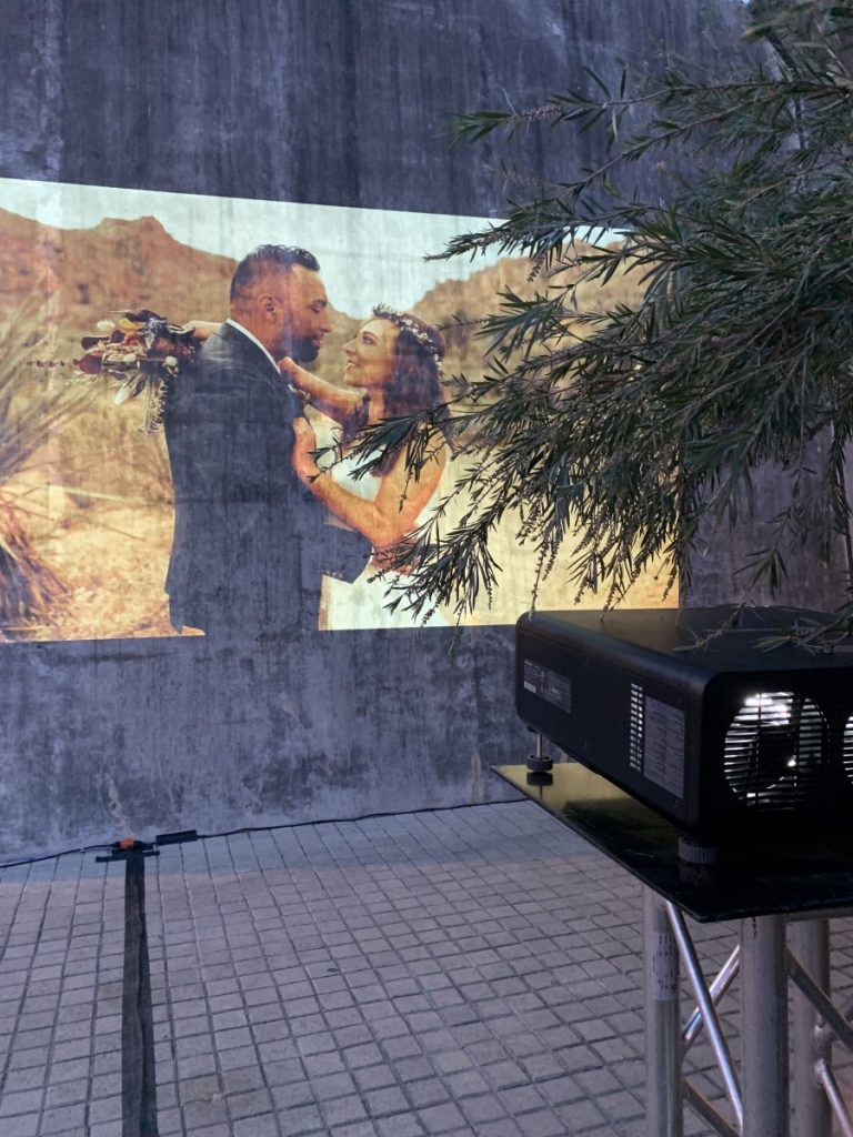 Projection on Concrete Wall