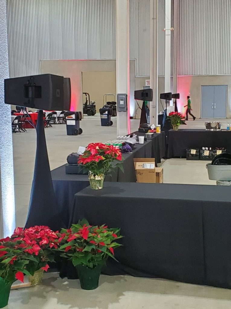 Speaker Setup with Stand Skrim Covers