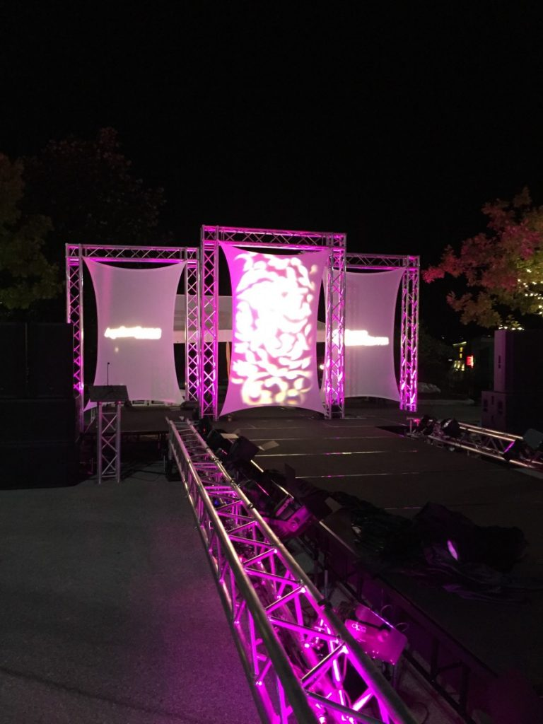 Fashion Show Stage Backdrop with Gobo Lighting and Uplighting