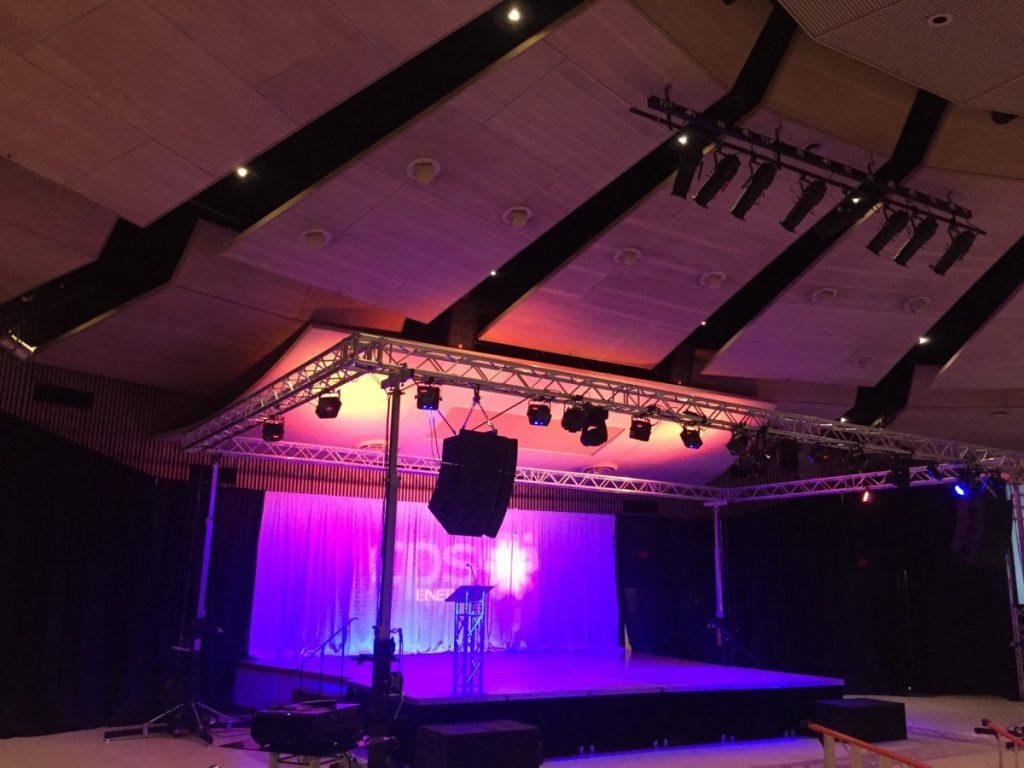 Drape Stage Backdrops with Custom Logo & Uplighting