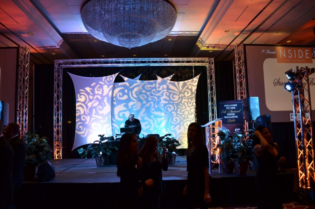 Spandex Backdrop with Stage Lighting & Gobo Lighting