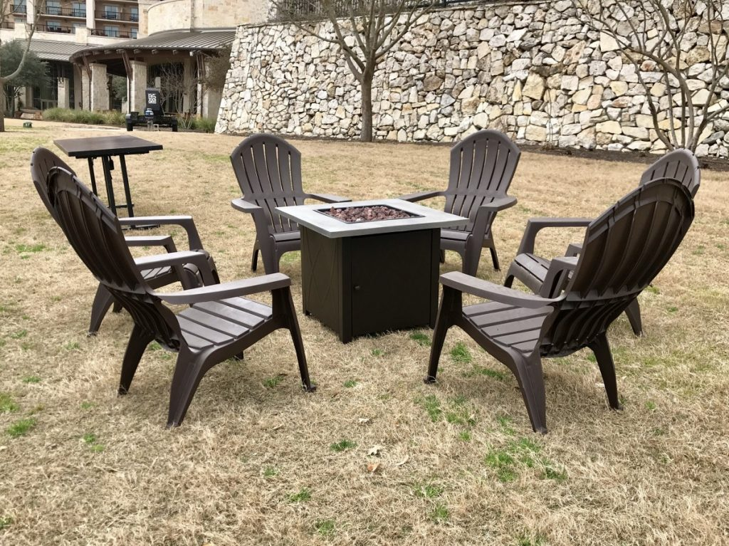 Adirondack Chairs with Fire Pit