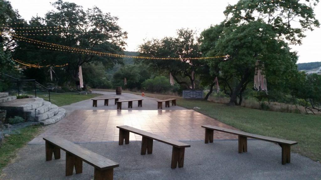 Rustic Benches with Dancefloor & String Lighting