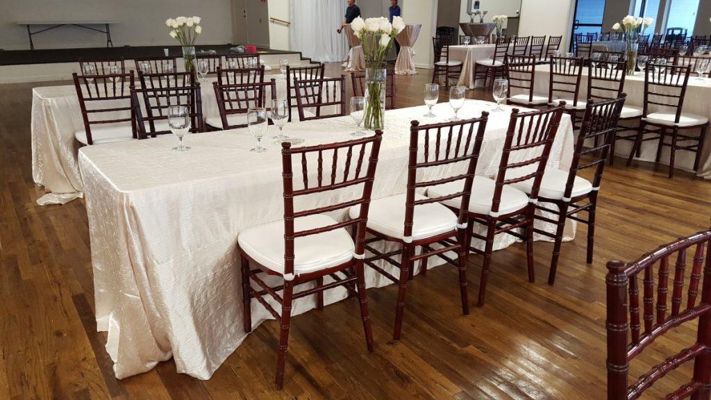Mahogany Chiavari Chairs with Ivory Cushions