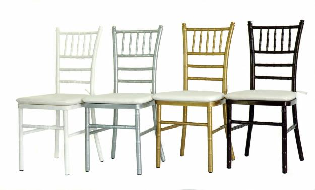 Chiavari Chair Colors Left to Right: White, Silver, Gold, and Mahogany