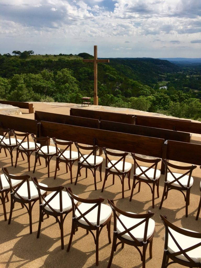 Crossback Chairs at Ceremony with Pews