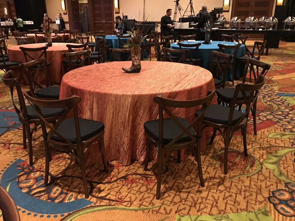 Mahogany Crossback Chairs with Black Cushion & Crush Tablecloth