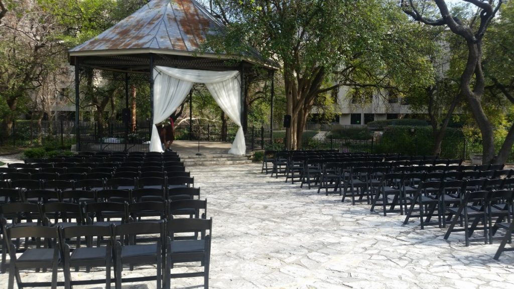 Black Folding Chairs at Ceremony