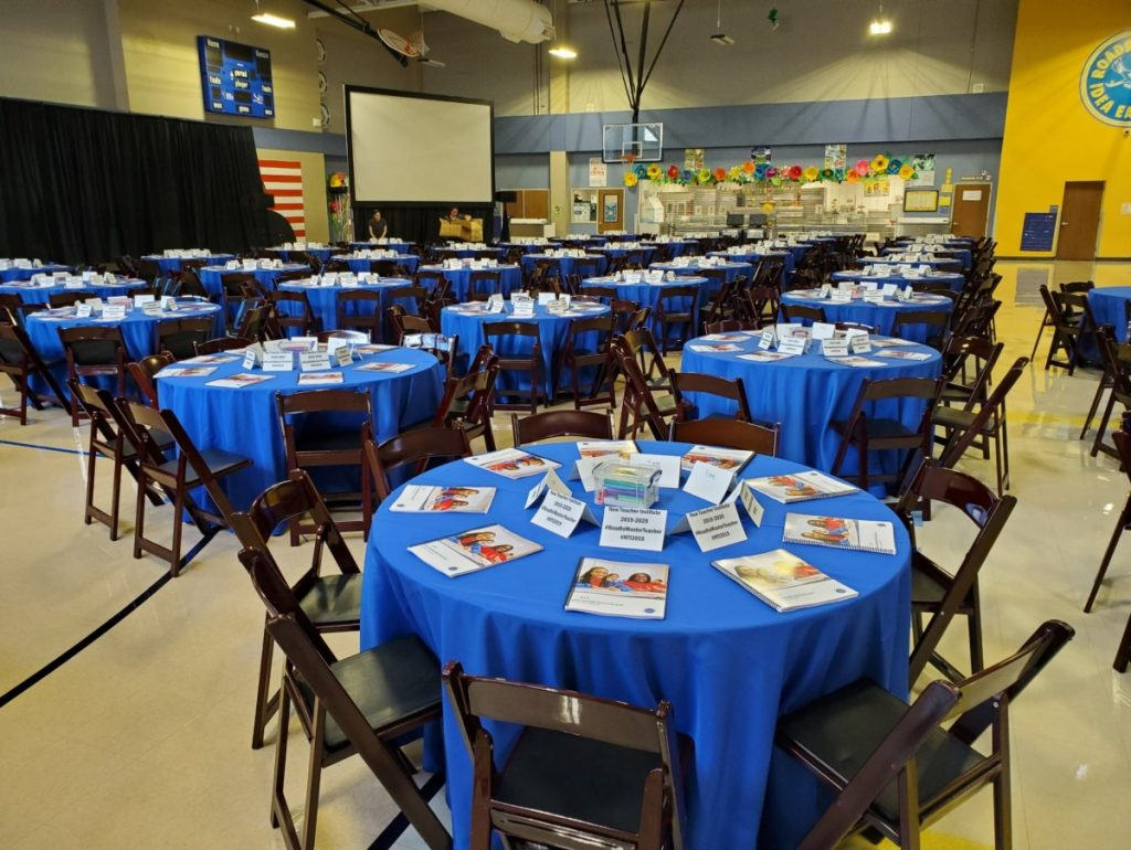 Mahogany Folding Chairs with Royal Blue Polyester
