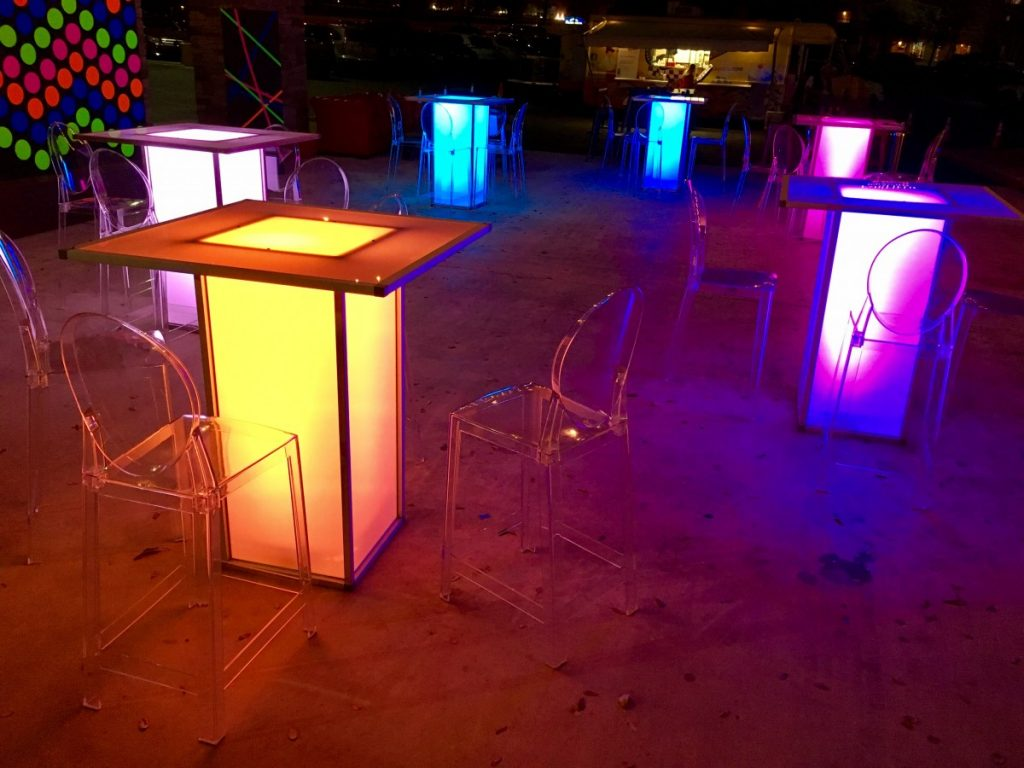 Ghost Barstools with LED Acrylic Cocktail Tables