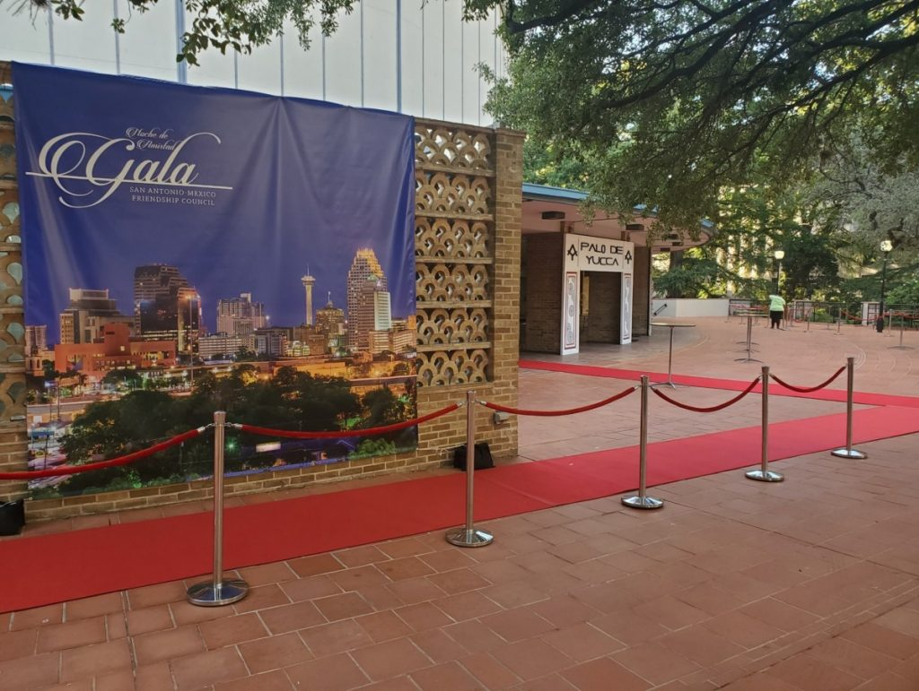 Red Carpet with Chrome Stanchions with Ropes