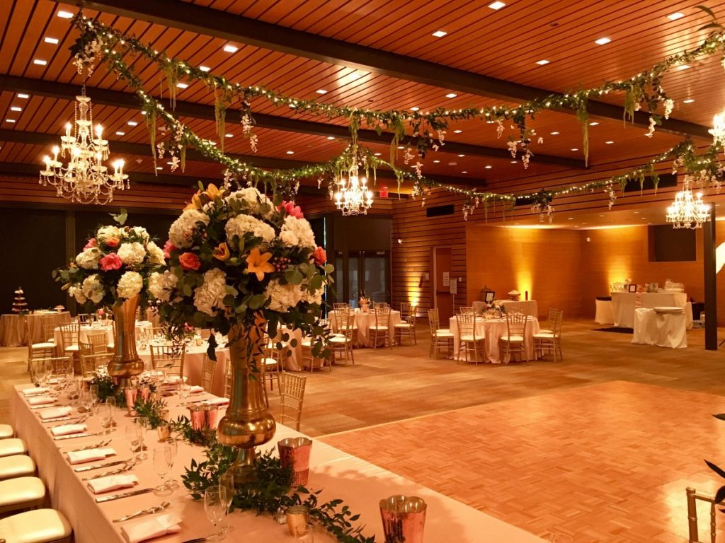 Chandeliers & String Lighting with Greenery