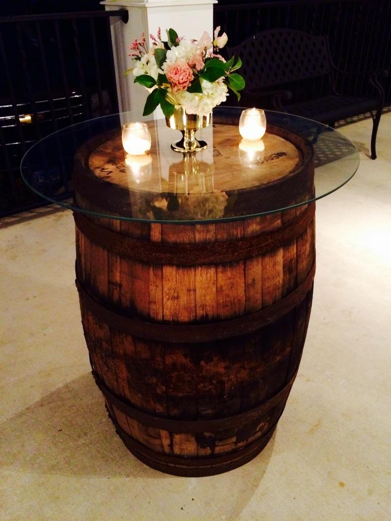 Glass Top Decor on Wine Barrel