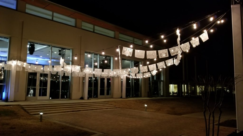 Papel Picado with String Lighting