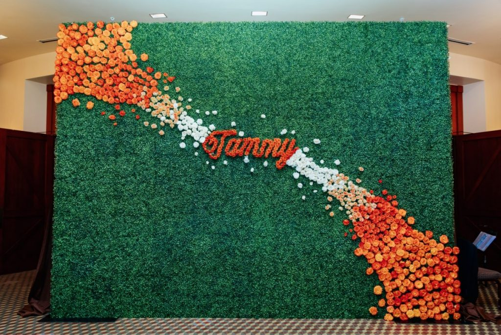 Hedge Wall with Floral added by Florist