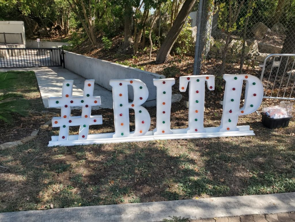 White Marquee Letter with Colored Bulbs