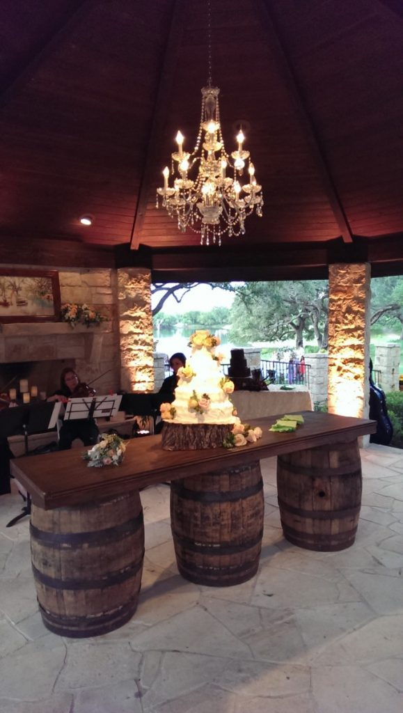 Wine Barrel Bar as Cake Table with Chandelier