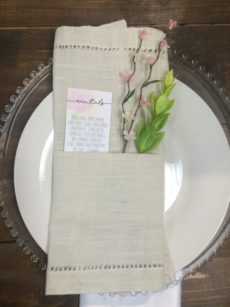 Natural Linen Napkin with Clear Glass Beaded Charger
