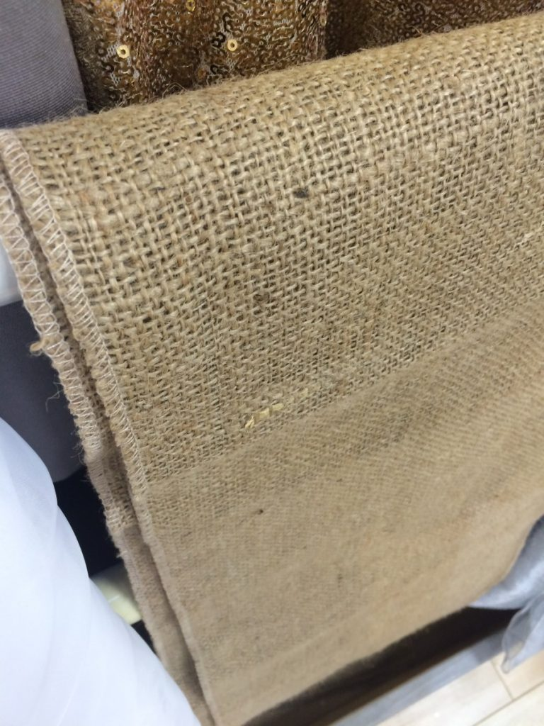 Burlap Fabric Runners and Tablecloths Available