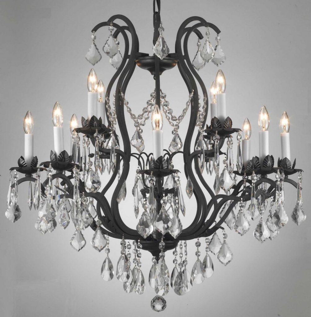 Rustic Wrought Iron Crystal Chandelier