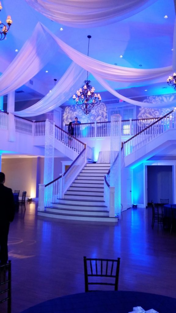 Ceiling Draping, Uplighting, Gobo Projection, and Shimmiliers