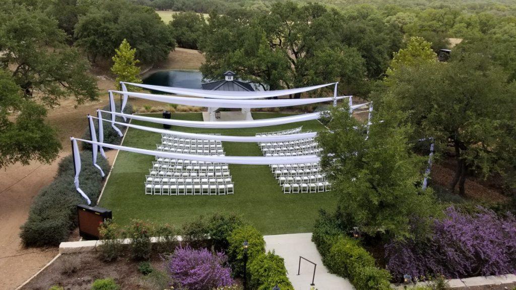 White Sheer Panels over Ceremony
