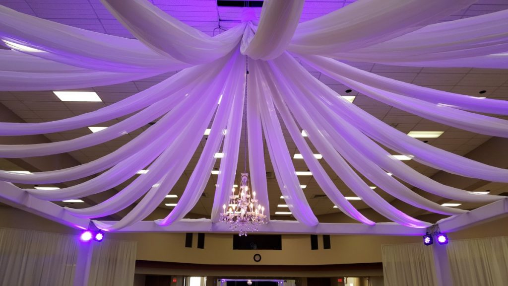 Ceiling Draping with Uplighting & Chandeliers