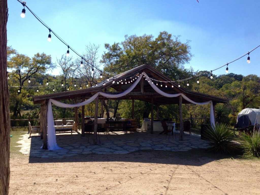 Outdoor Rustic Draping with String Lighting