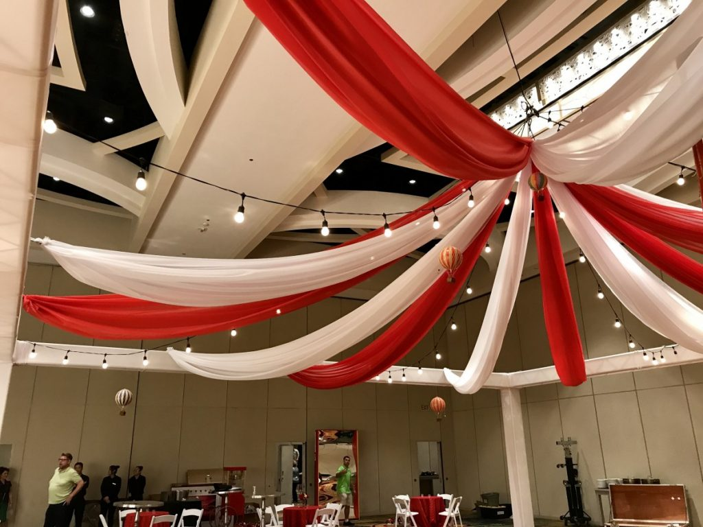 Red & White Ceiling Draping with String Lighting