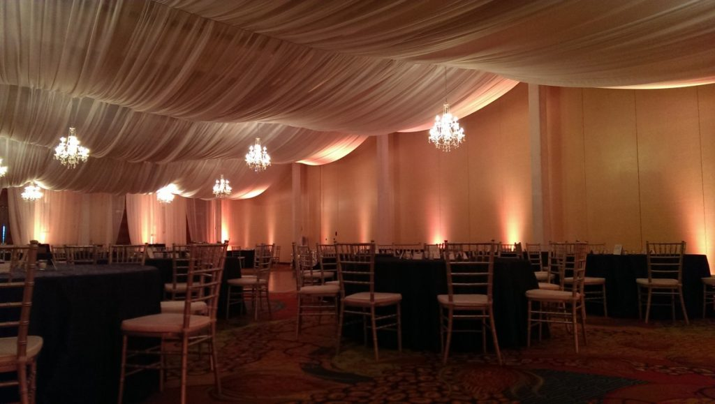Elegant Ceiling Draping with Chandeliers