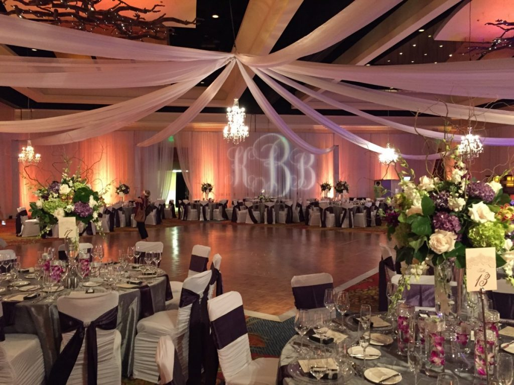 Ceiling Drape with Chandeliers
