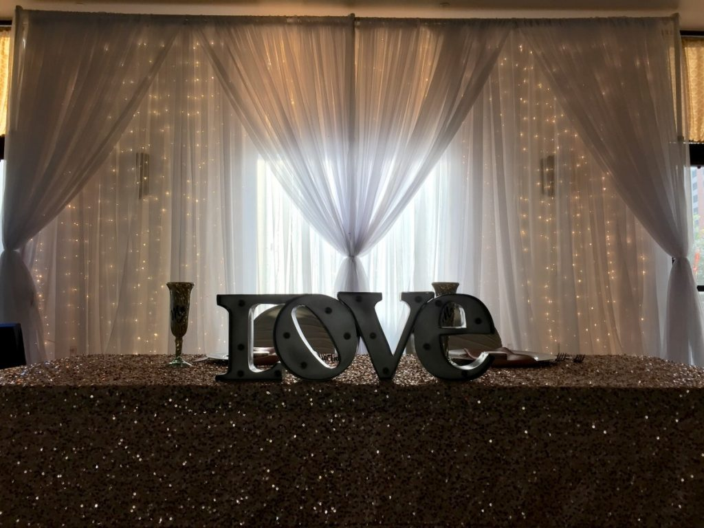 Lighted Pipe & Drape at Sweetheart Table