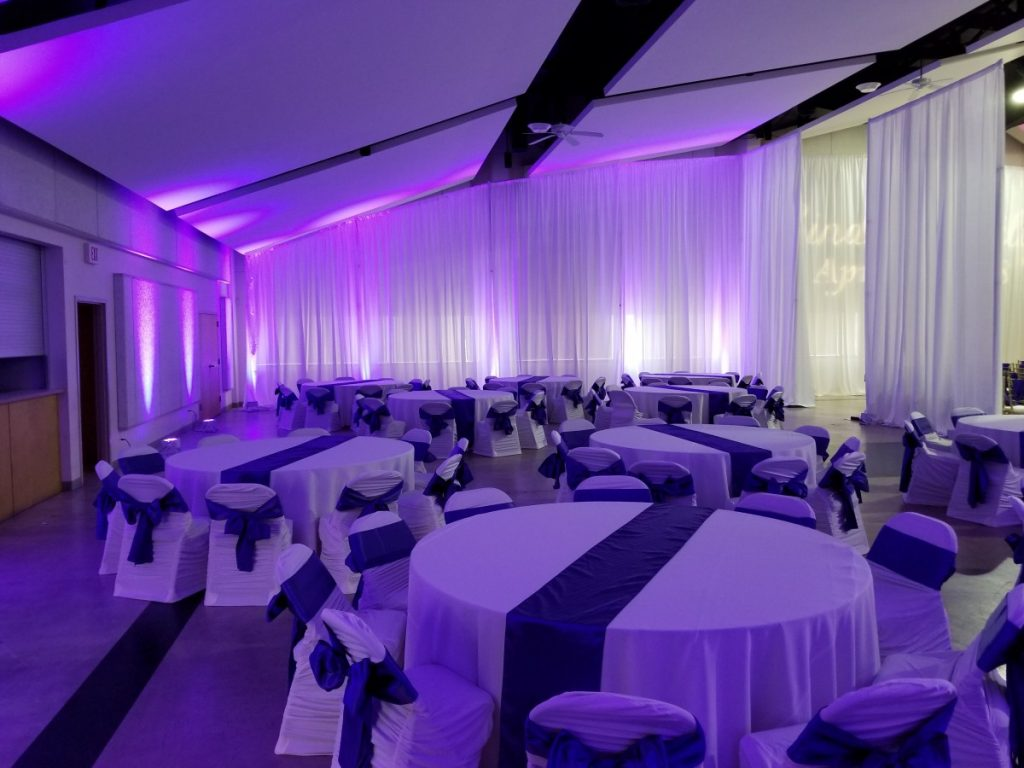 Angled White Sheer Wall Draping - with Uplights