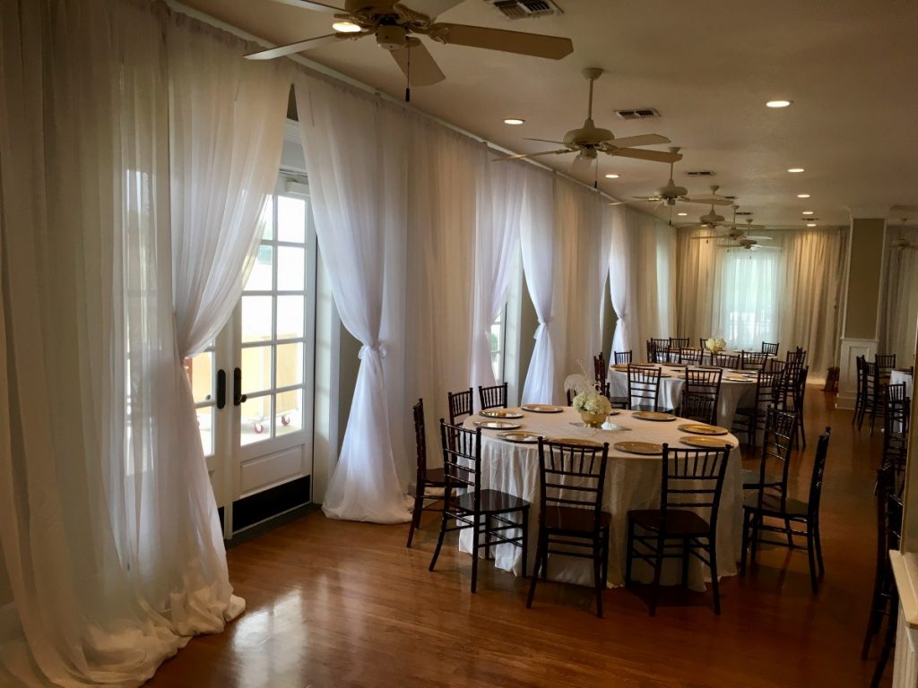 White Sheer Draping on Outer Walls