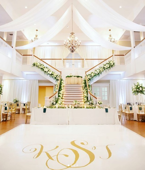 White Sheer Wall Draping with Ceiling Draping