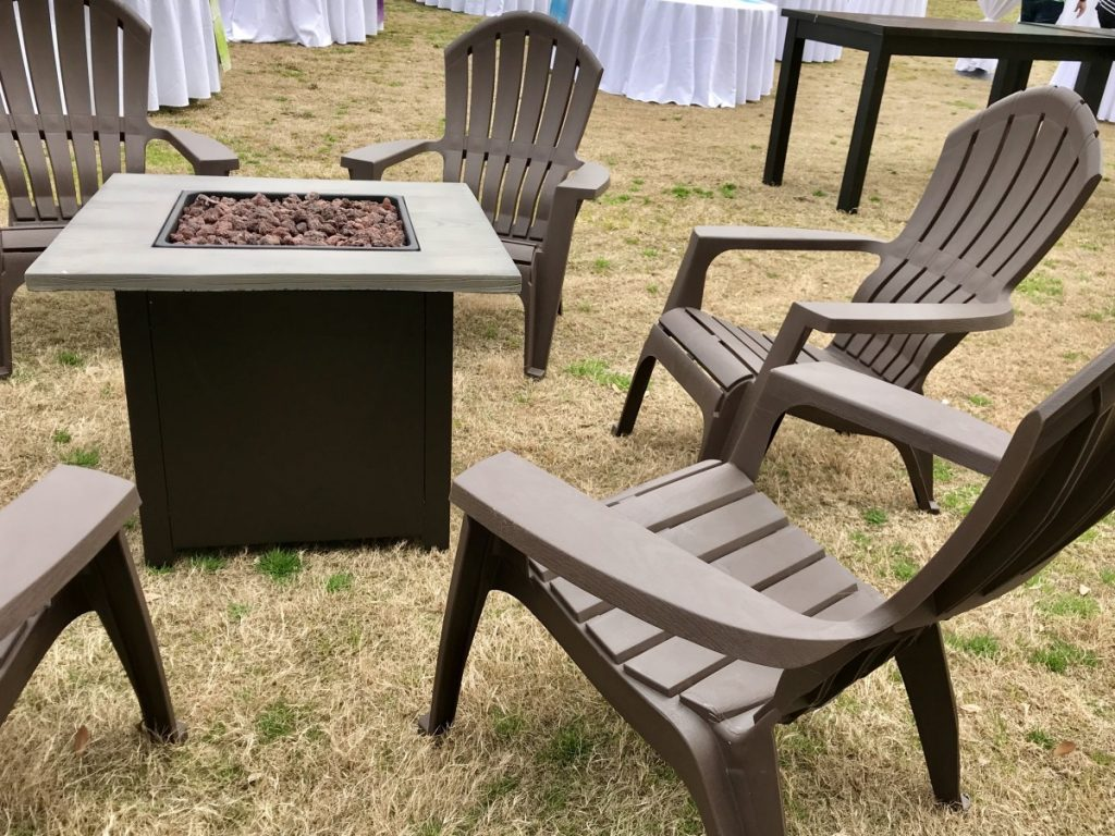 Square Fire Pit with Adirondack Chairs