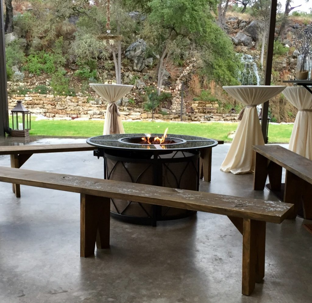 Round Fire Pits Featured with Rustic Benches