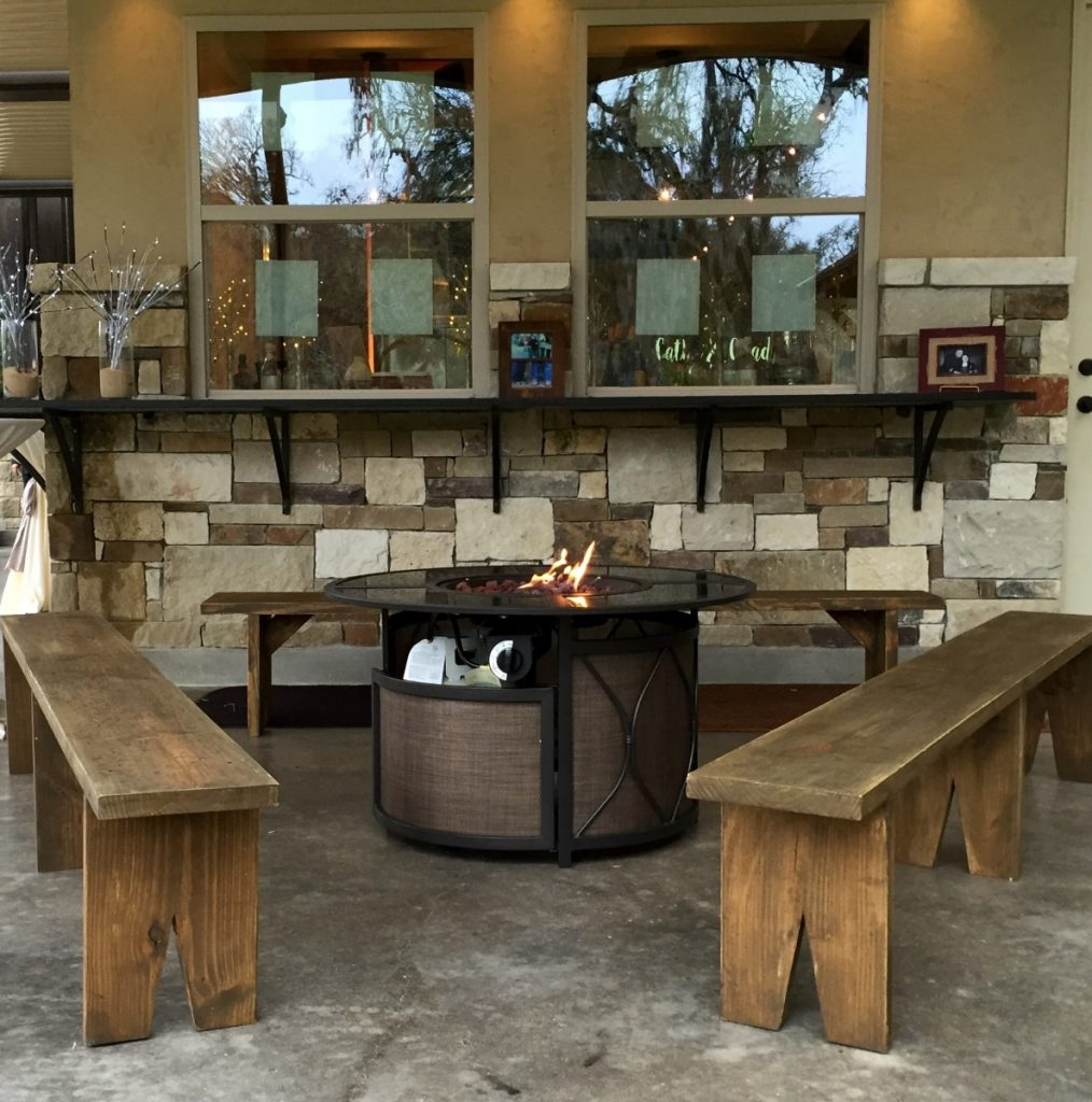 Round Fire Pit with Rustic Benches