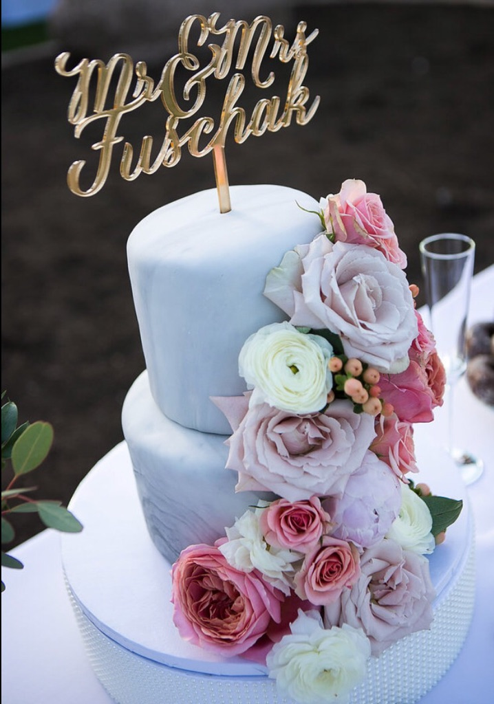 Gold Mirrored Lasered Cake Topper