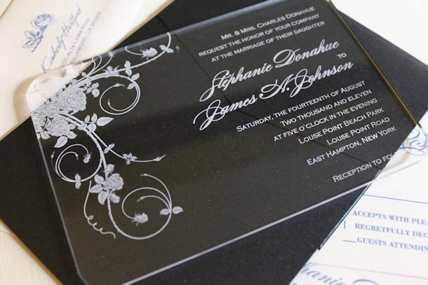 Acrylic Wedding Invitation - Engraved
