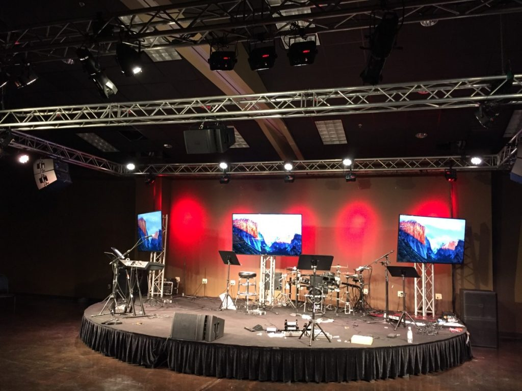 Round Staging with Trussed Lighting and LED Screens