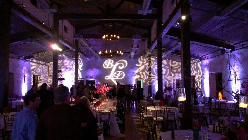 Antique Rosette & Custom Gobo as Stage Backdrop