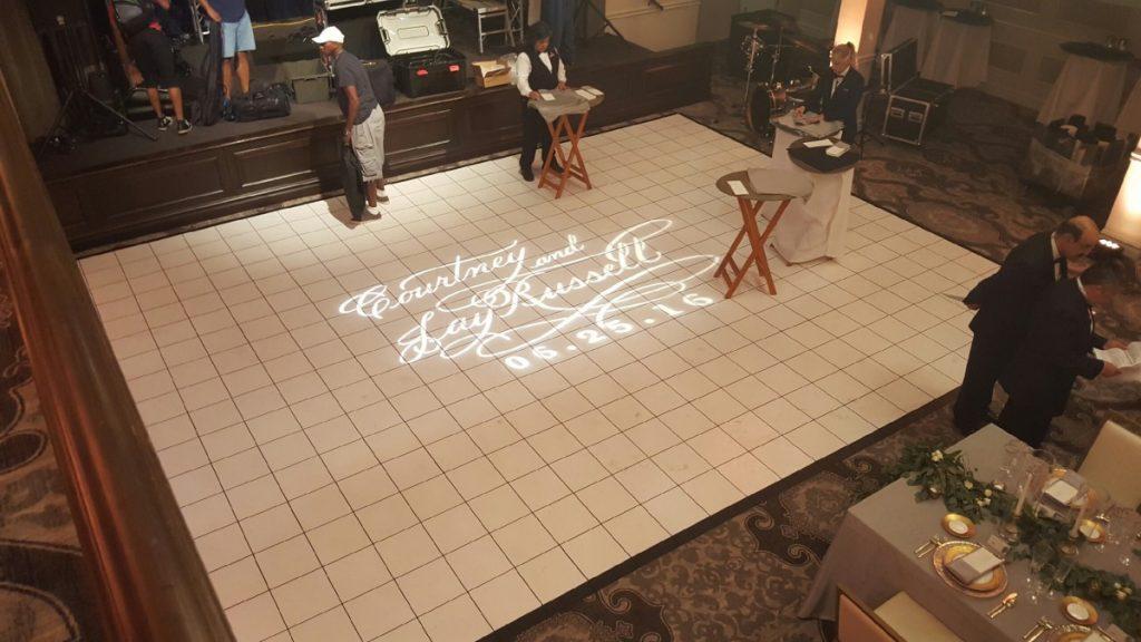 Custom Gobo Light Projection on White Dancefloor