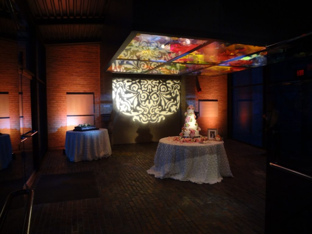 Cake Table Pinsotted with Gobo Projection & Uplighting