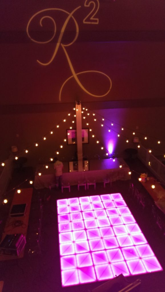 String Lighting from Truss with Gobo Projection & LED Dancefloor