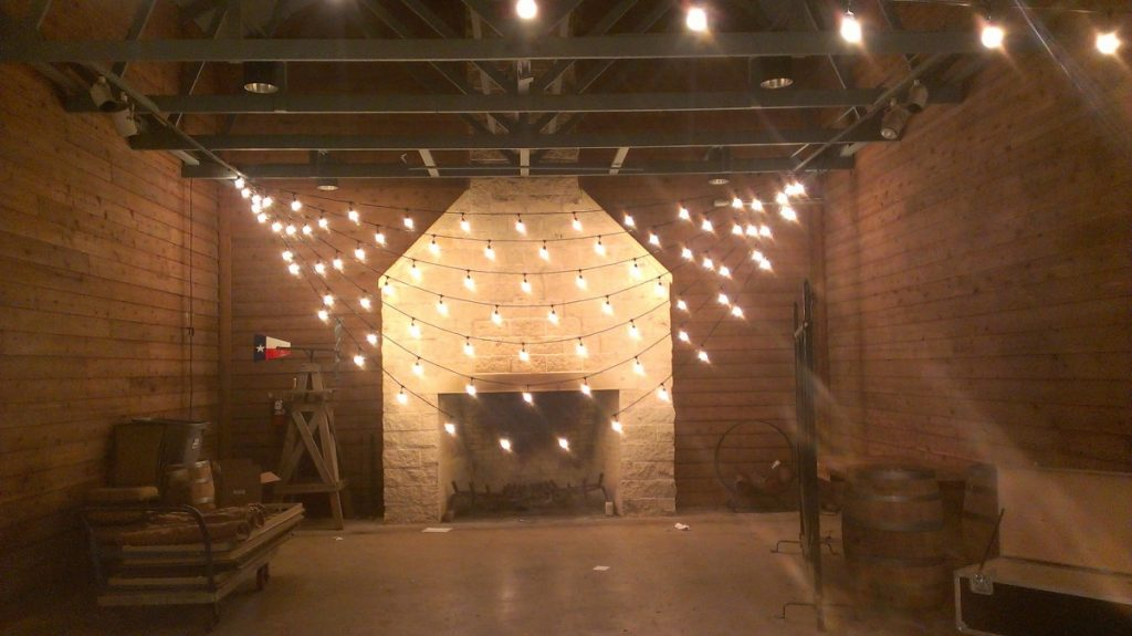 Custom String Lighting over Fireplace